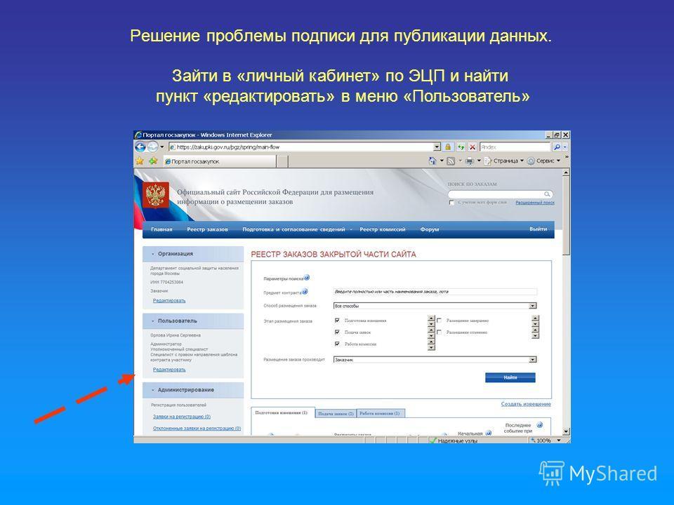 Решение проблемы подписи для публикации данных. Зайти в «личный кабинет» по ЭЦП и найти пункт «редактировать» в меню «Пользователь»