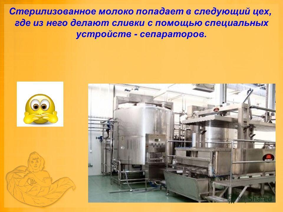 Стерилизованное молоко попадает в следующий цех, где из него делают сливки с помощью специальных устройств - сепараторов.