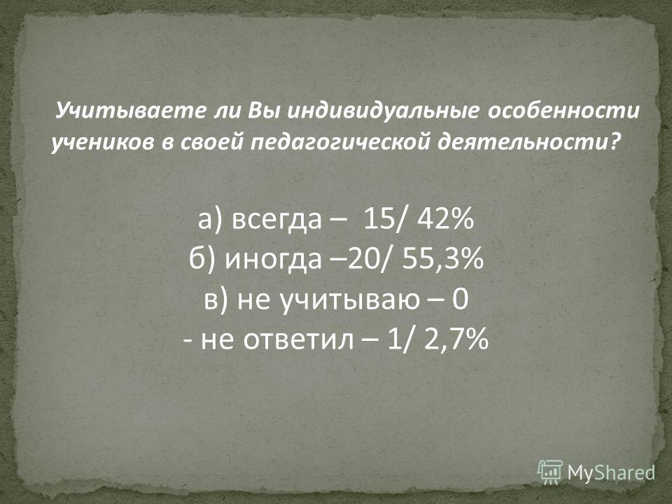 Учитываете ли Вы индивидуальные особенности учеников в своей педагогической деятельности? а) всегда – 15/ 42% б) иногда –20/ 55,3% в) не учитываю – 0 - не ответил – 1/ 2,7%