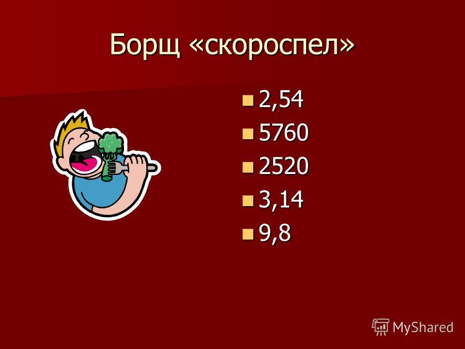 Борщ «скороспел» 2,54 2,54 5760 5760 2520 2520 3,14 3,14 9,8 9,8