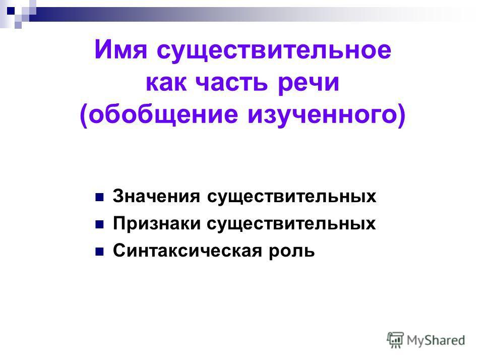 Имя существительное как часть речи (обобщение изученного) Значения существительных Признаки существительных Синтаксическая роль