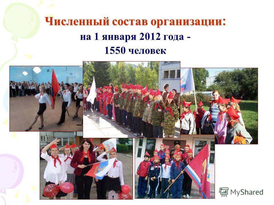 Численный состав организации : на 1 января 2012 года - 1550 человек