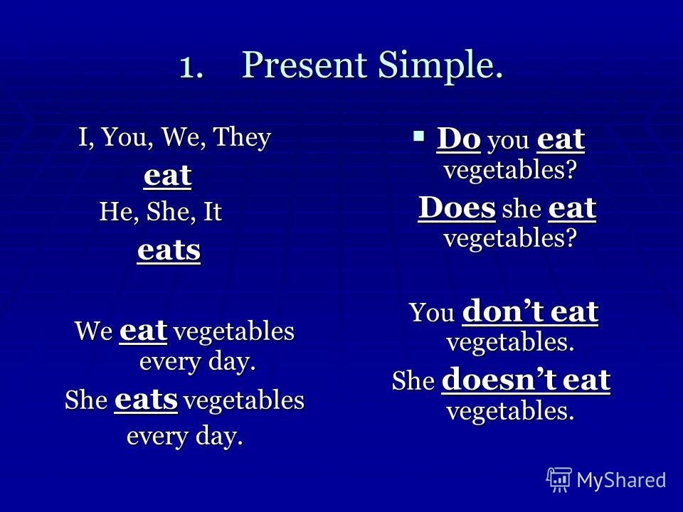 1.Present Simple. I, You, We, They I, You, We, They eat eat He, She, It He, She, It eats eats We eat vegetables every day. She eats vegetables every day. Do you eat vegetables? Do you eat vegetables? Does she eat vegetables? Does she eat vegetables?
