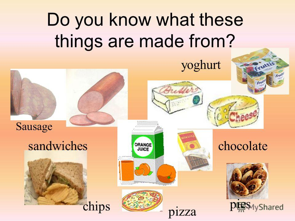 Do you know what these things are made from? Sausage sandwiches chips chocolate pizza pies yoghurt