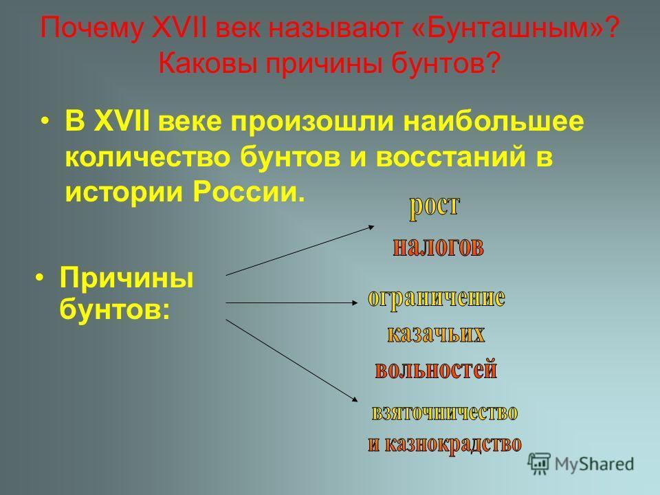 Почему XVII век называют «Бунташным»? Каковы причины бунтов? Причины бунтов: В XVII веке произошли наибольшее количество бунтов и восстаний в истории России.