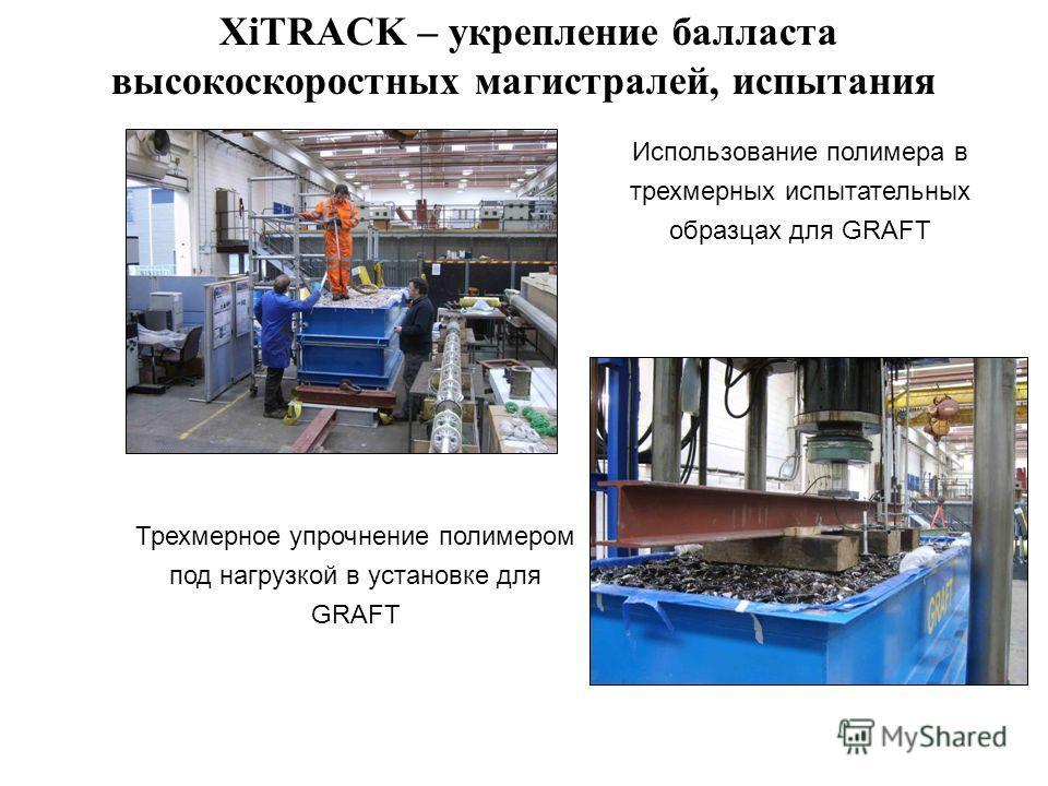 Трехмерное упрочнение полимером под нагрузкой в установке для GRAFT Использование полимера в трехмерных испытательных образцах для GRAFT XiTRACK – укрепление балласта высокоскоростных магистралей, испытания