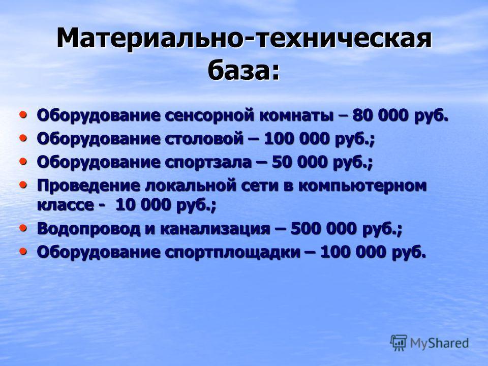 Материально-техническая база: Оборудование сенсорной комнаты – 80 000 руб. Оборудование сенсорной комнаты – 80 000 руб. Оборудование столовой – 100 000 руб.; Оборудование столовой – 100 000 руб.; Оборудование спортзала – 50 000 руб.; Оборудование спо
