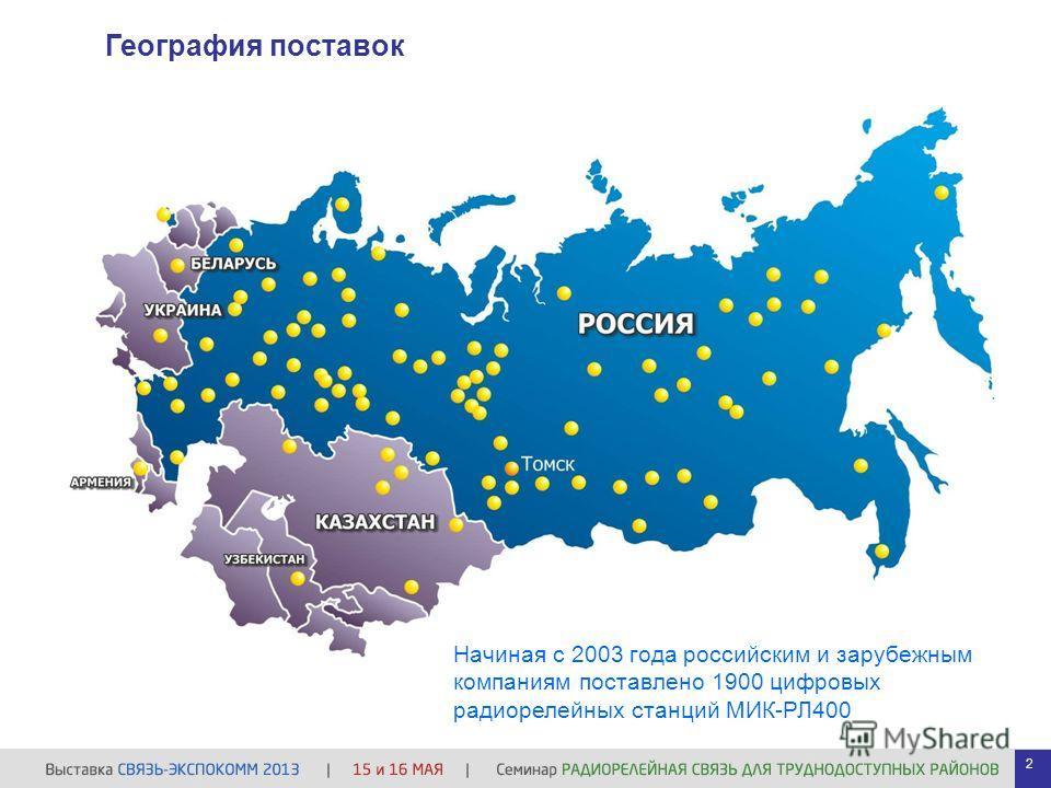 Начиная с 2003 года российским и зарубежным компаниям поставлено 1900 цифровых радиорелейных станций МИК-РЛ400 География поставок 2