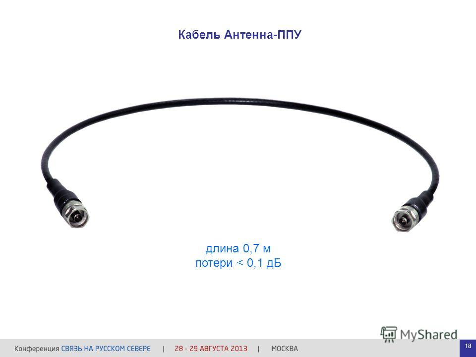 длина 0,7 м потери < 0,1 дБ Кабель Антенна-ППУ 18