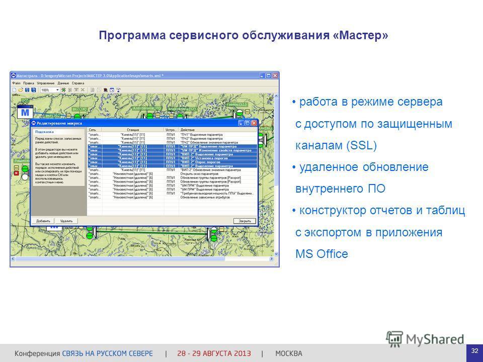 Программа сервисного обслуживания «Мастер» работа в режиме сервера с доступом по защищенным каналам (SSL) удаленное обновление внутреннего ПО конструктор отчетов и таблиц с экспортом в приложения MS Office 32