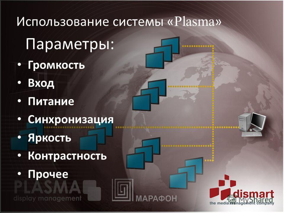 Использование системы « Plasma » Параметры: Громкость Вход Питание Синхронизация Яркость Контрастность Прочее