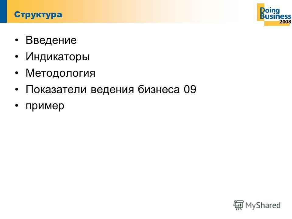 Структура Введение Индикаторы Методология Показатели ведения бизнеса 09 пример