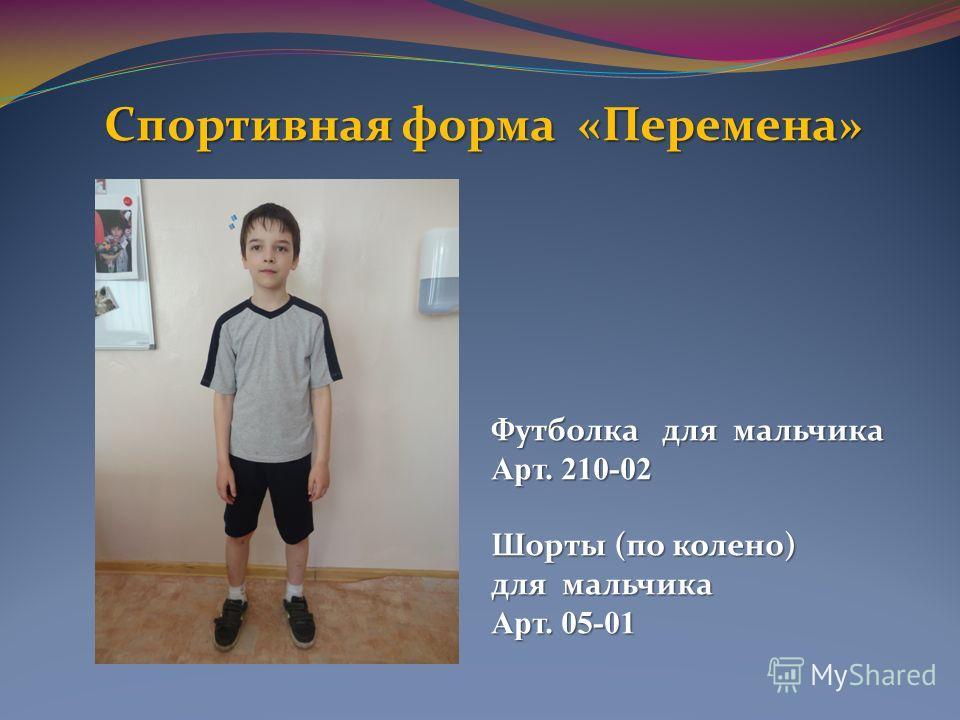 Спортивная форма «Перемена» Футболка для мальчика Арт. 210-02 Шорты (по колено) для мальчика Арт. 05-01