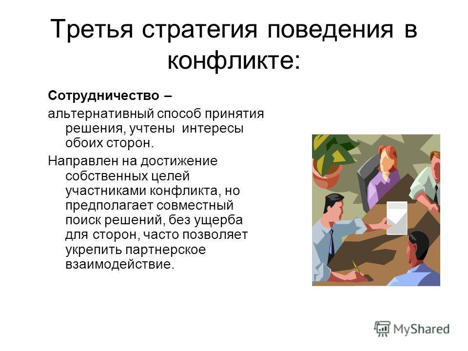Третья стратегия поведения в конфликте: Сотрудничество – альтернативный способ принятия решения, учтены интересы обоих сторон. Направлен на достижение собственных целей участниками конфликта, но предполагает совместный поиск решений, без ущерба для с