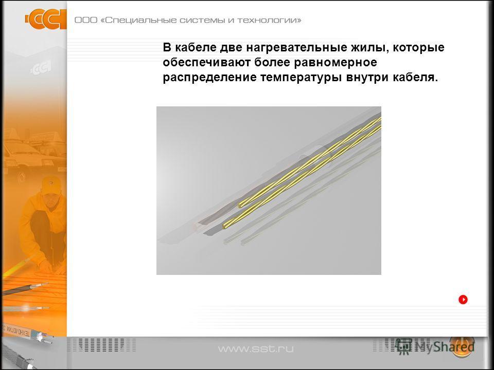 В кабеле две нагревательные жилы, которые обеспечивают более равномерное распределение температуры внутри кабеля.