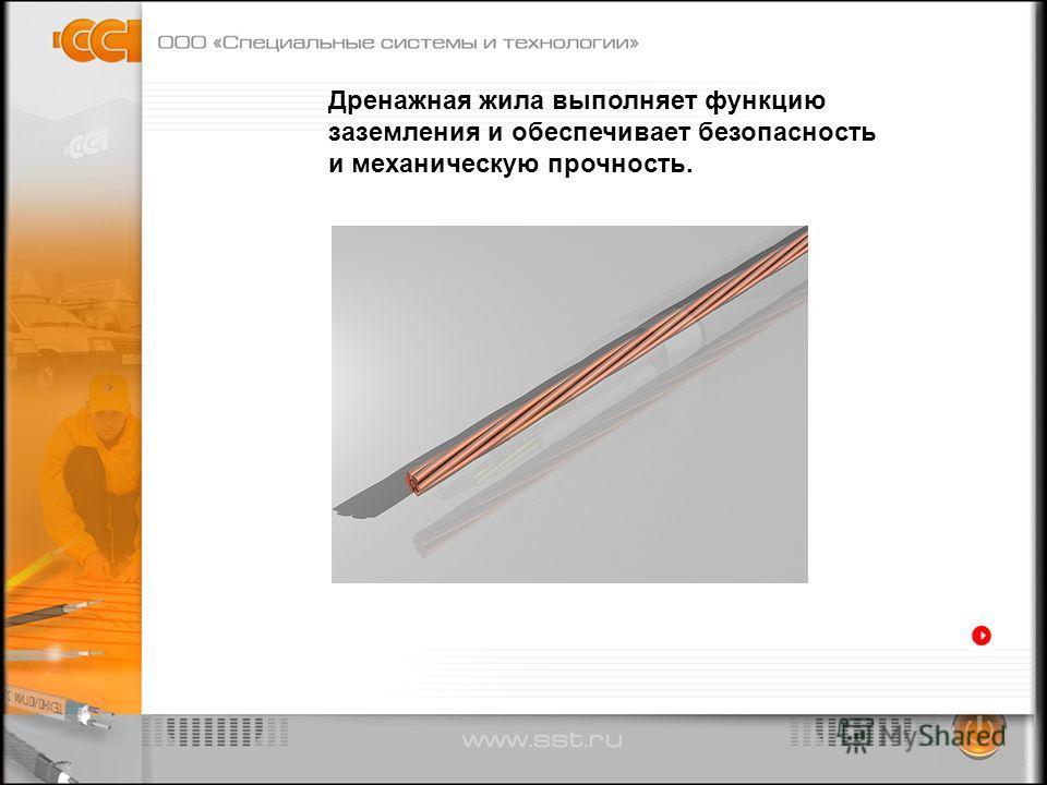 Дренажная жила выполняет функцию заземления и обеспечивает безопасность и механическую прочность.