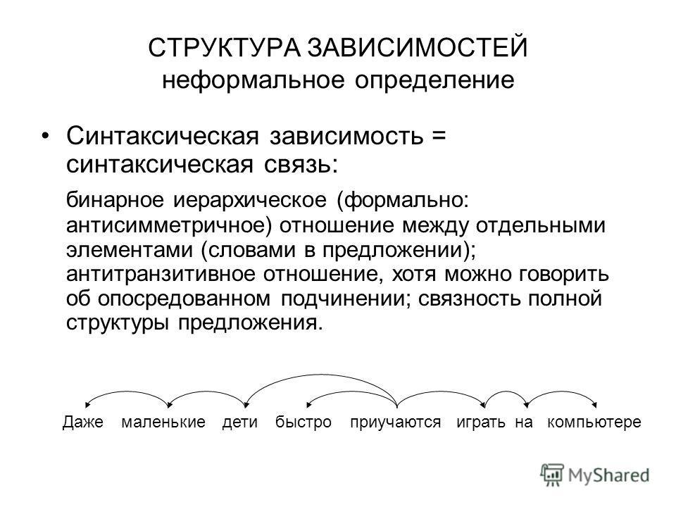 СТРУКТУРА ЗАВИСИМОСТЕЙ неформальное определение Синтаксическая зависимость = синтаксическая связь: бинарное иерархическое (формально: антисимметричное) отношение между отдельными элементами (словами в предложении); антитранзитивное отношение, хотя мо