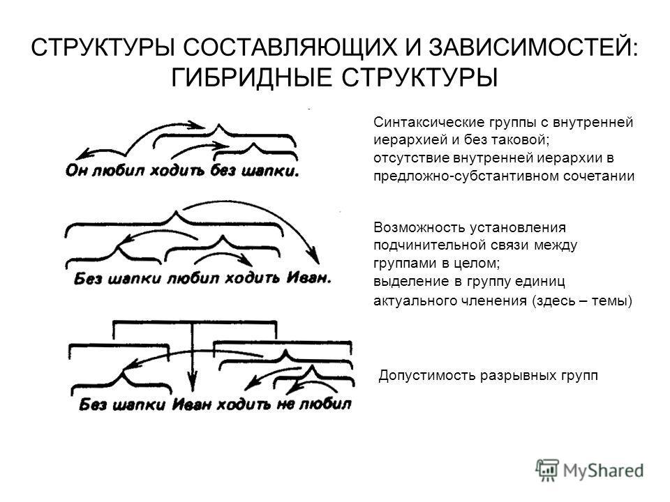 СТРУКТУРЫ СОСТАВЛЯЮЩИХ И ЗАВИСИМОСТЕЙ: ГИБРИДНЫЕ СТРУКТУРЫ Синтаксические группы с внутренней иерархией и без таковой; отсутствие внутренней иерархии в предложно-субстантивном сочетании Возможность установления подчинительной связи между группами в ц