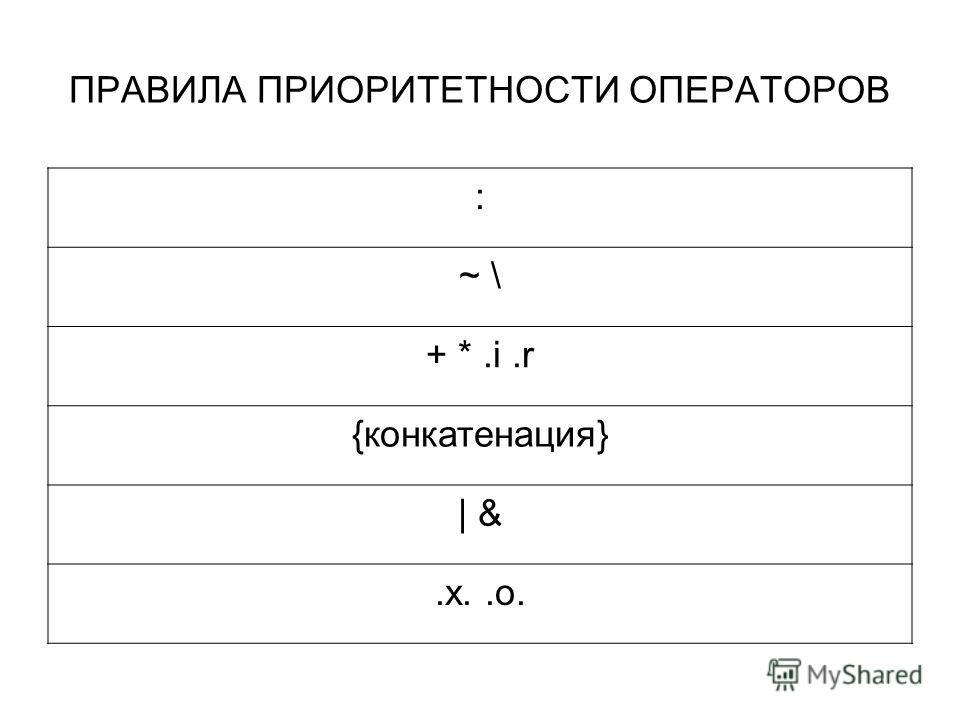 ПРАВИЛА ПРИОРИТЕТНОСТИ ОПЕРАТОРОВ : ~ \ + *.i.r {конкатенация} | &.x..o.