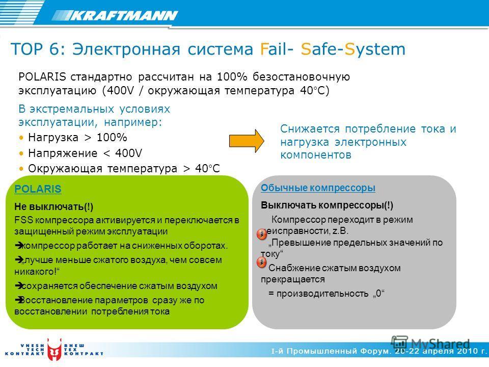POLARIS стандартно рассчитан на 100% безостановочную эксплуатацию (400V / окружающая температура 40°C) POLARIS Не выключать(!) FSS компрессора активируется и переключается в защищенный режим эксплуатации компрессор работает на сниженных оборотах. луч
