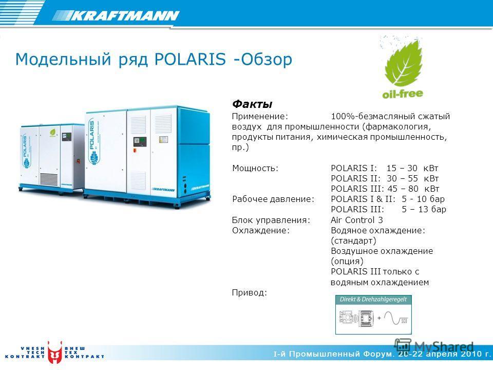 Модельный ряд POLARIS -Обзор Факты Применение:100%-безмасляный сжатый воздух для промышленности (фармакология, продукты питания, химическая промышленность, пр.) Мощность: POLARIS I: 15 – 30 кВт POLARIS II: 30 – 55 кВт POLARIS III: 45 – 80 кВт Рабочее