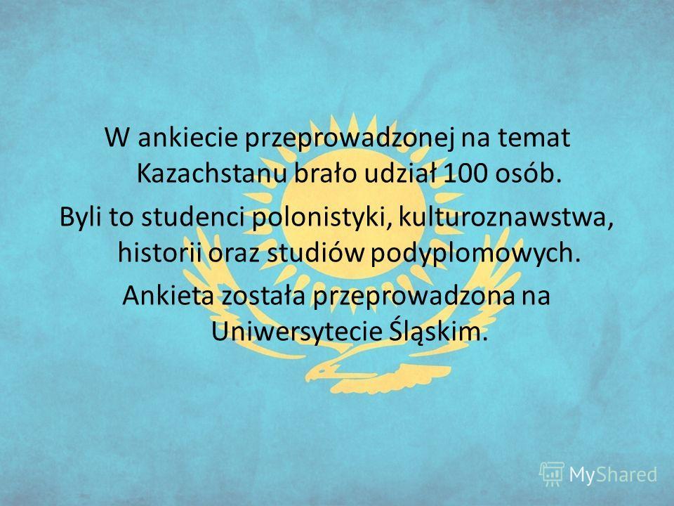 W ankiecie przeprowadzonej na temat Kazachstanu brało udział 100 osób. Byli to studenci polonistyki, kulturoznawstwa, historii oraz studiów podyplomowych. Ankieta została przeprowadzona na Uniwersytecie Śląskim.