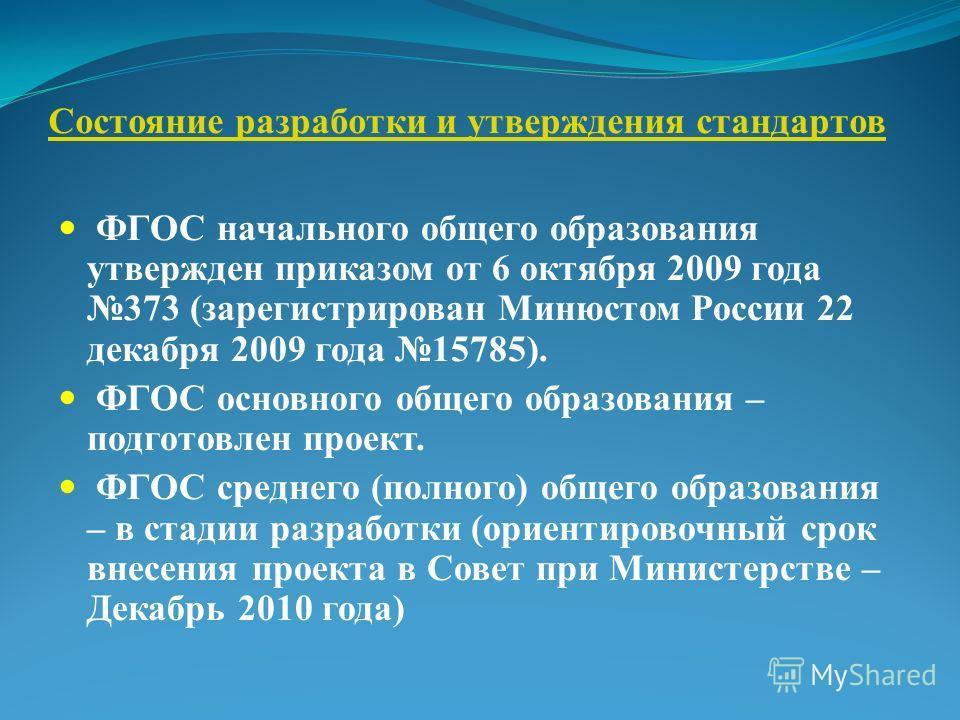 Состояние разработки и утверждения стандартов ФГОС начального общего образования утвержден приказом от 6 октября 2009 года 373 (зарегистрирован Минюстом России 22 декабря 2009 года 15785). ФГОС основного общего образования – подготовлен проект. ФГОС