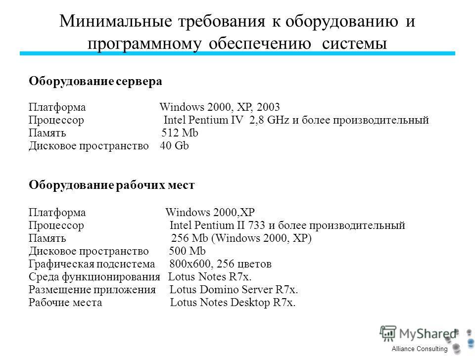Alliance Consulting Минимальные требования к оборудованию и программному обеспечению системы Оборудование сервера Платформа Windows 2000, XP, 2003 Процессор Intel Pentium IV 2,8 GHz и более производительный Память 512 Mb Дисковое пространство 40 Gb О