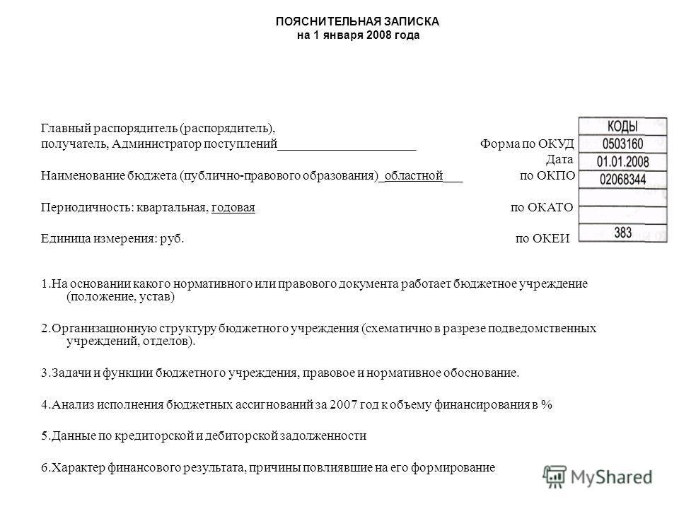 ПОЯСНИТЕЛЬНАЯ ЗАПИСКА на 1 января 2008 года Главный распорядитель (распорядитель), получатель, Администратор поступлений_____________________ Форма по ОКУД Дата Наименование бюджета (публично-правового образования)_областной___ по ОКПО Периодичность: