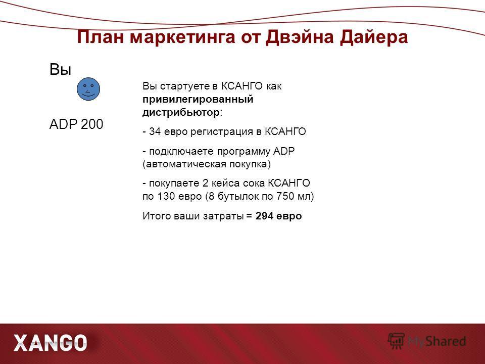 План маркетинга от Двэйна Дайера ۧ Вы ста р туете в КСАНГО как привилегированный дистрибьютор: - 34 евро регистрация в КСАНГО - подключаете программу ADP (автоматическая покупка) - покупаете 2 кейса сока КСАНГО по 130 евро (8 бутылок по 750 мл) Итого