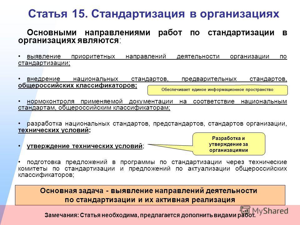 Статья 15. Стандартизация в организациях Основными направлениями работ по стандартизации в организациях являются: выявление приоритетных направлений деятельности организации по стандартизации; внедрение национальных стандартов, предварительных станда