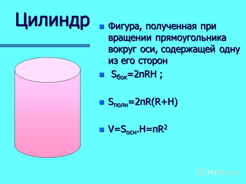 Цилиндр n Фигура, полученная при вращении прямоугольника вокруг оси, содержащей одну из его сторон n S бок =2пRH ; n S полн =2пR(R+H) n V=S осн.Н=пR 2