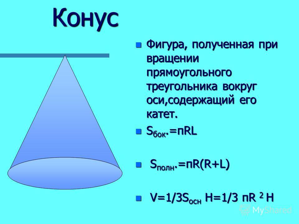 Конус n Фигура, полученная при вращении прямоугольного треугольника вокруг оси,содержащий его катет. n S бок.=пRL n S полн.=пR(R+L) n V=1/3S осн H=1/3 пR 2 Н