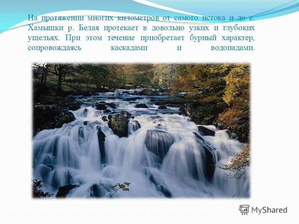 На протяжении многих километров от самого истока и до с. Хамышки р. Белая протекает в довольно узких и глубоких ущельях. При этом течение приобретает бурный характер, сопровождаясь каскадами и водопадами.