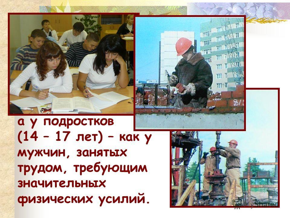 а у подростков (14 – 17 лет) – как у мужчин, занятых трудом, требующим значительных физических усилий.