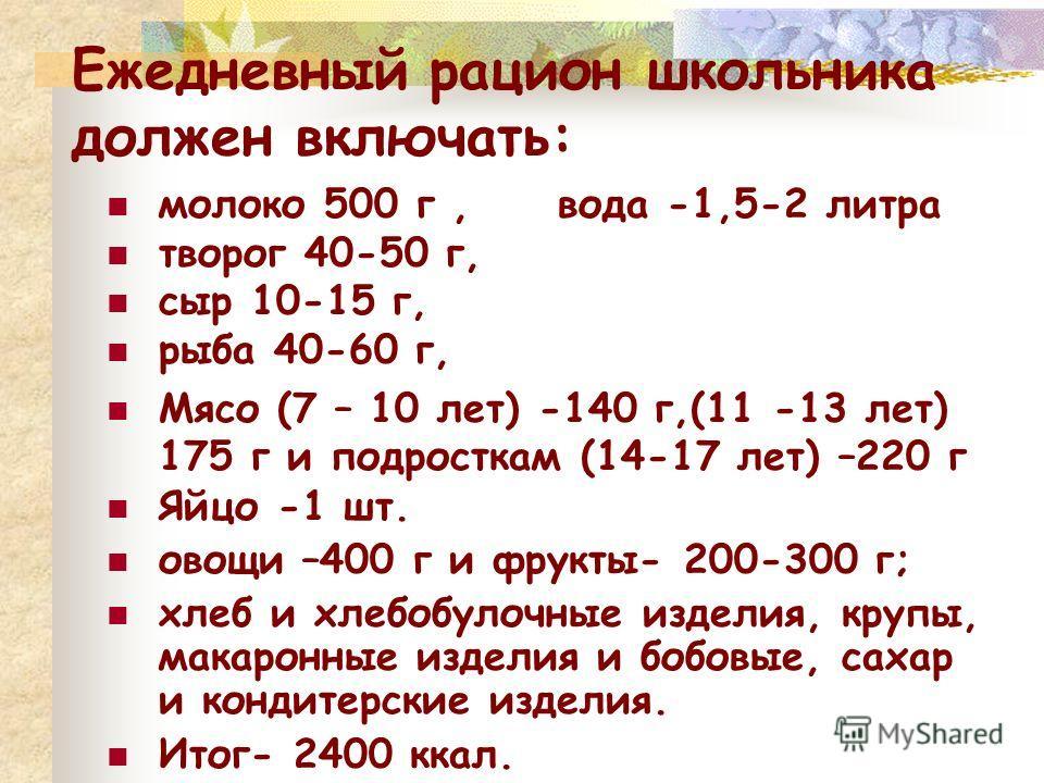 Ежедневный рацион школьника должен включать: молоко 500 г, вода -1,5-2 литра творог 40-50 г, сыр 10-15 г, рыба 40-60 г, Мясо (7 – 10 лет) -140 г,(11 -13 лет) 175 г и подросткам (14-17 лет) –220 г Яйцо -1 шт. овощи –400 г и фрукты- 200-300 г; хлеб и х