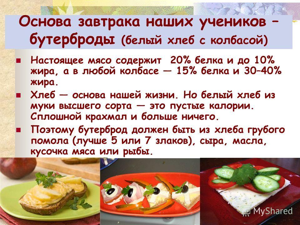 Основа завтрака наших учеников – бутерброды (белый хлеб с колбасой) Настоящее мясо содержит 20% белка и до 10% жира, а в любой колбасе 15% белка и 30–40% жира. Хлеб основа нашей жизни. Но белый хлеб из муки высшего сорта это пустые калории. Сплошной