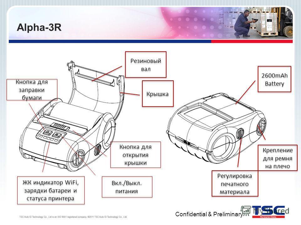 Confidential & Preliminary Alpha-3R Резиновый вал Кнопка для открытия крышки Кнопка для заправки бумаги Вкл./Выкл. питания Крышка ЖК индикатор WiFi, зарядки батареи и статуса принтера 2600mAh Battery Регулировка печатного материала Крепление для ремн