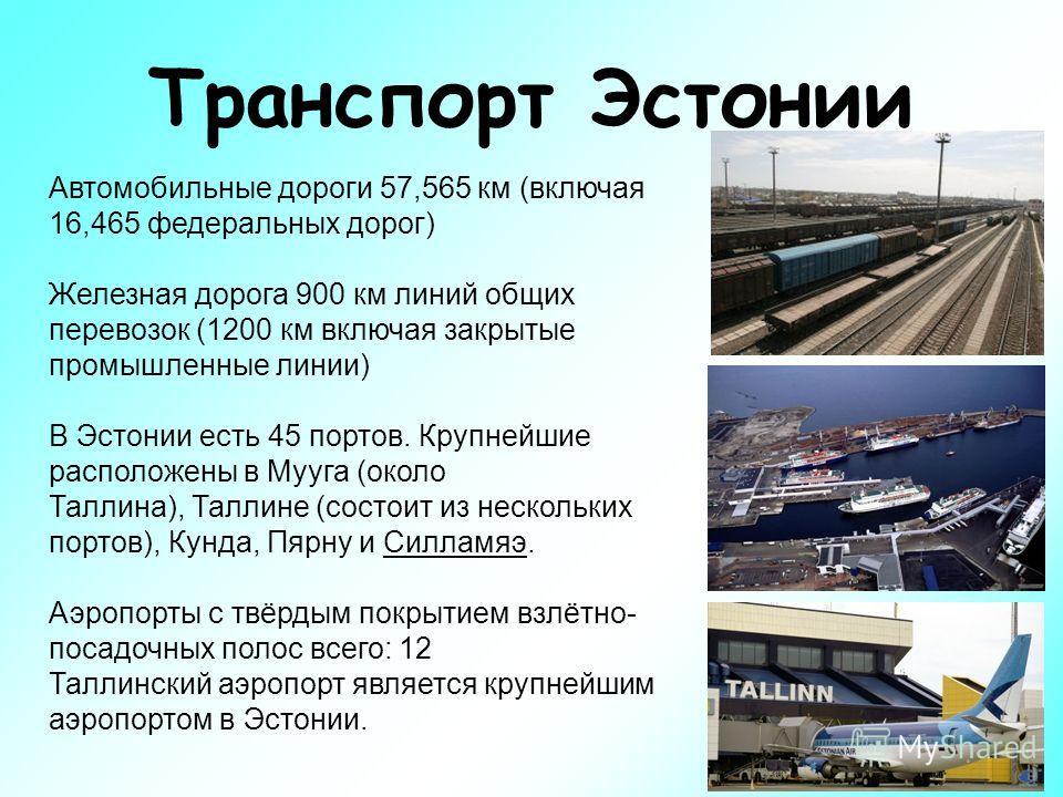 Транспорт Эстонии Автомобильные дороги 57,565 км (включая 16,465 федеральных дорог) Железная дорога 900 км линий общих перевозок (1200 км включая закрытые промышленные линии) В Эстонии есть 45 портов. Крупнейшие расположены в Мууга (около Таллина), Т
