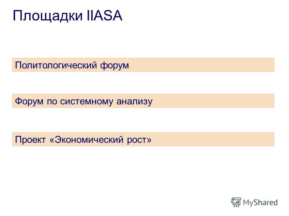 Площадки IIASA Политологический форум Форум по системному анализу Проект «Экономический рост»
