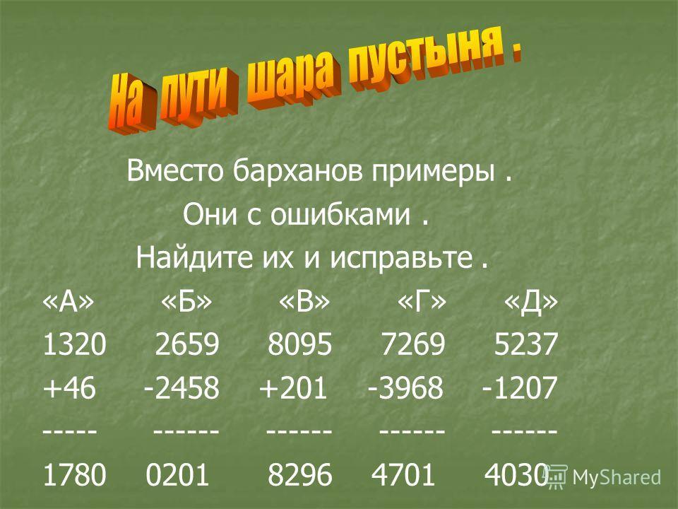 Вместо барханов примеры. Они с ошибками. Найдите их и исправьте. «А» «Б» «В» «Г» «Д» 1320 2659 8095 7269 5237 +46 -2458 +201 -3968 -1207 ----- ------ ------ ------ ------ 1780 0201 8296 4701 4030