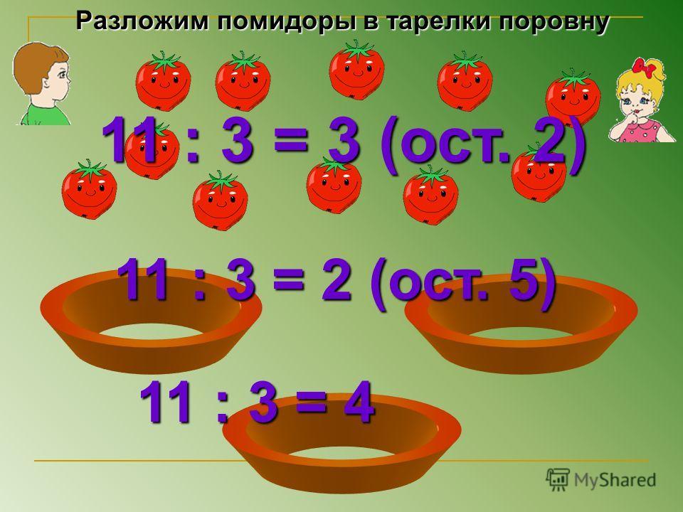 Разложим помидоры в тарелки поровну 11 : 3 = 3 (ост. 2) 11 : 3 = 2 (ост. 5) 11 : 3 = 4