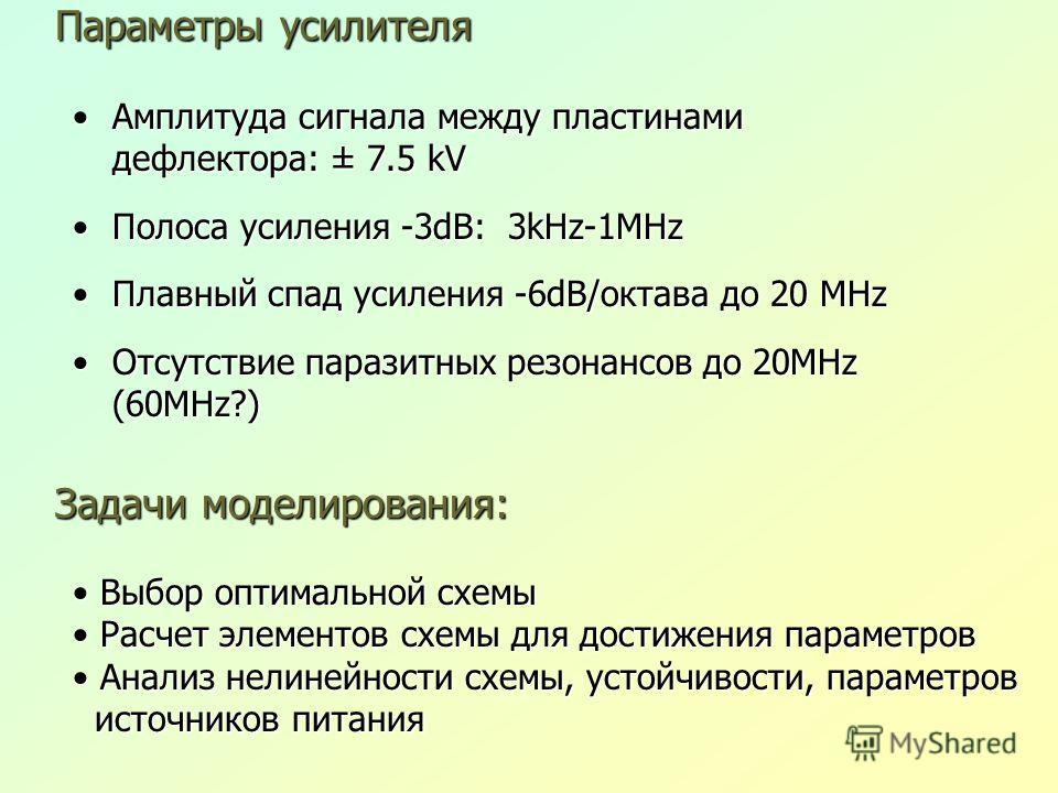 Параметры усилителя Амплитуда сигнала между пластинами дефлектора: ± 7.5 kVАмплитуда сигнала между пластинами дефлектора: ± 7.5 kV Полоса усиления -3dB: 3kHz-1MHzПолоса усиления -3dB: 3kHz-1MHz Плавный спад усиления -6dB/октава до 20 MHzПлавный спад