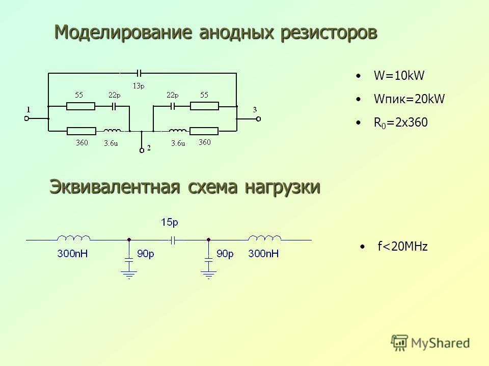W=10kWW=10kW Wпик=20kWWпик=20kW R 0 =2x360R 0 =2x360 Моделирование анодных резисторов Эквивалентная схема нагрузки f