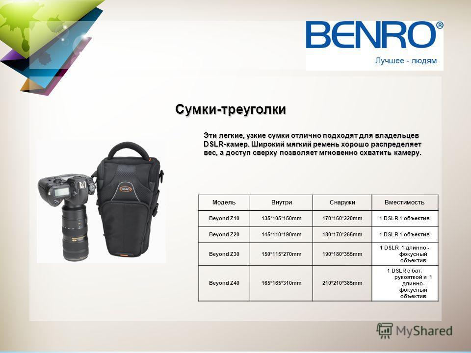 Эти легкие, узкие сумки отлично подходят для владельцев DSLR-камер. Широкий мягкий ремень хорошо распределяет вес, а доступ сверху позволяет мгновенно схватить камеру. Сумки-треуголки МодельВнутриСнаружиВместимость Beyond Z10135*105*150mm170*160*220m