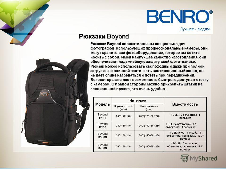 Рюкзаки Beyond спроектированы специально для фотографов, использующих профессиональные камеры, они могут хранить все фотооборудование, которое вы хотите носить с собой. Имея наилучшее качество изготовления, они обеспечивают надежнейшую защиту всей фо