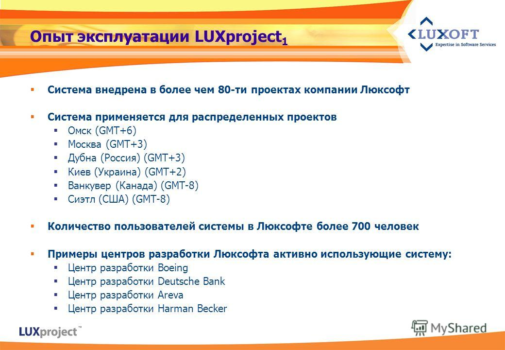 Опыт эксплуатации LUXproject 1 Система внедрена в более чем 80-ти проектах компании Люксофт Система применяется для распределенных проектов Омск (GMT+6) Москва (GMT+3) Дубна (Россия) (GMT+3) Киев (Украина) (GMT+2) Ванкувер (Канада) (GMT-8) Сиэтл (США