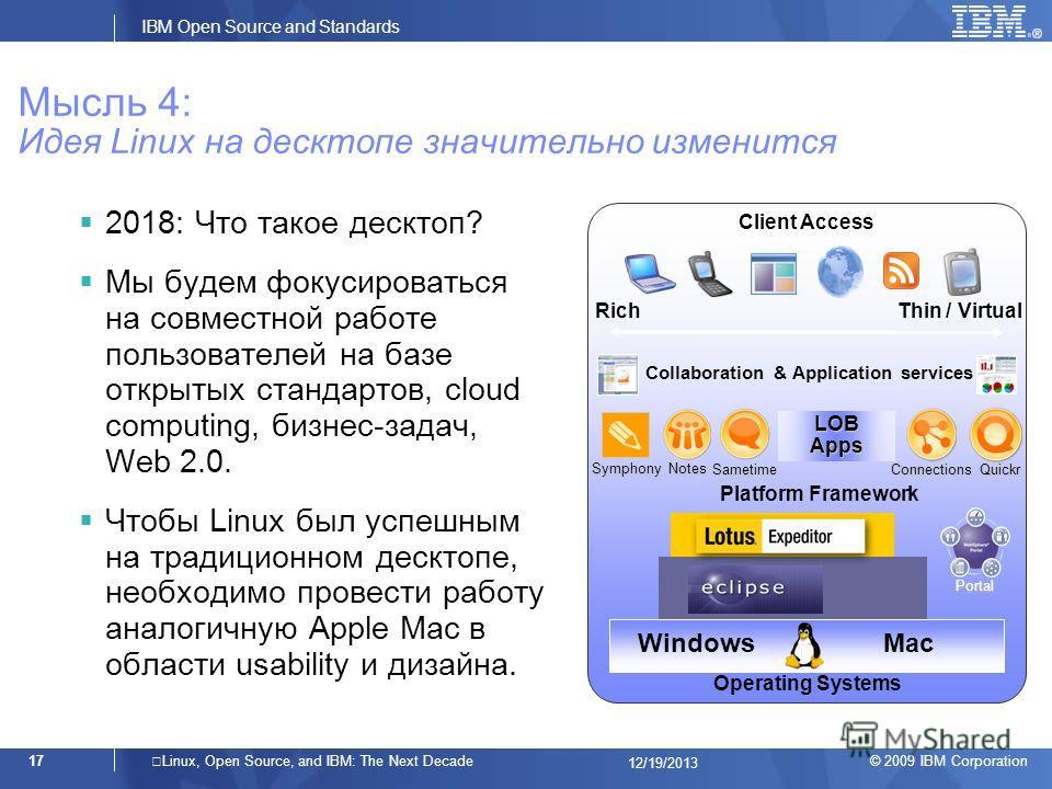 © 2009 IBM Corporation IBM Open Source and Standards 17Linux, Open Source, and IBM: The Next Decade 12/19/2013 Мысль 4: Идея Linux на десктопе значительно изменится 2018: Что такое десктоп? Мы будем фокусироваться на совместной работе пользователей н