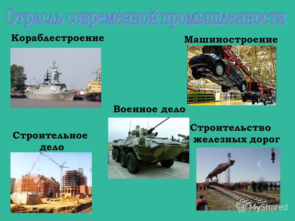 Кораблестроение Строительство железных дорог Машиностроение Строительное дело Военное дело