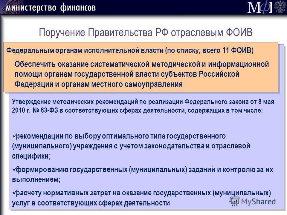 Поручение Правительства РФ отраслевым ФОИВ Утверждение методических рекомендаций по реализации Федерального закона от 8 мая 2010 г. 83-ФЗ в соответствующих сферах деятельности, содержащих в том числе: рекомендации по выбору оптимального типа государс